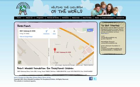 Screenshot of Maps & Directions Page woodallkids.org - Directions «  Brent Woodall Foundation - captured Oct. 5, 2014