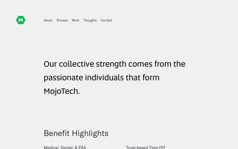 Screenshot of Jobs Page mojotech.com - Custom Software Development & Design Company | MojoTech - captured Nov. 18, 2019