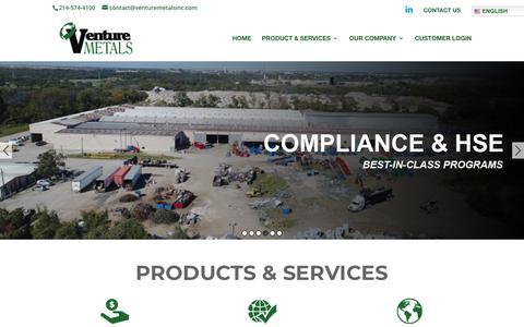 Screenshot of Home Page venturemetalsinc.com - Venturemetalsinc | We Buy Scrap Metals - captured Dec. 20, 2018