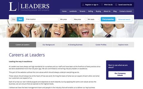 Screenshot of Jobs Page leaders.co.uk - Letting and estate agent jobs at Leaders - captured July 24, 2016