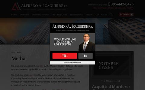 Screenshot of Press Page izaguirrelaw.com - Media | Alfredo Izaguirre P.A. - captured Oct. 3, 2018