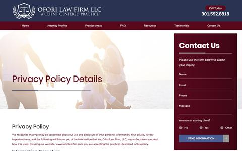 Screenshot of Privacy Page oforilawfirm.com - Privacy Policy | Silver Spring Personal Injury Attorney - captured Oct. 18, 2018