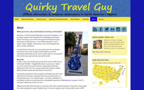 Screenshot of About Page quirkytravelguy.com - About | Quirky Travel Guy - captured Nov. 3, 2014