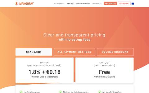 Screenshot of Pricing Page mangopay.com - Pricing - MANGOPAY - captured Nov. 16, 2018