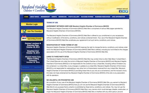 Screenshot of Terms Page mhcc.com - Maryland Heights Chamber of Commerce (MHCC) - captured Oct. 3, 2014