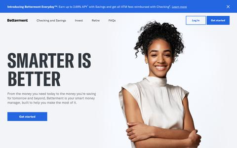 Screenshot of Home Page betterment.com - Betterment: The Smart Money Manager | Save. Invest. Retire. - captured July 23, 2019