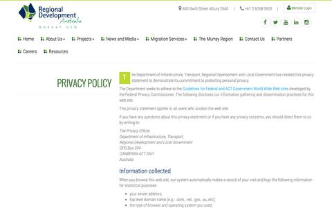 Screenshot of Privacy Page rdamurray.org.au - Privacy Policy : RDA Murray - captured Oct. 1, 2018