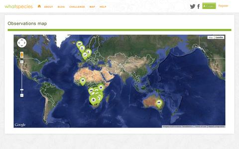 Screenshot of Maps & Directions Page whatspecies.com - WhatSpecies - Connect with Nature - captured Oct. 9, 2014
