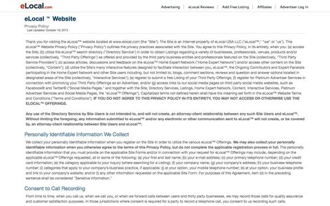 Screenshot of Contact Page Press Page Terms Page elocal.com - Information Privacy | eLocal.com - captured Sept. 21, 2018