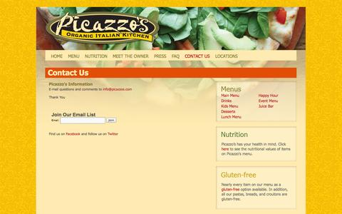 Screenshot of Contact Page picazzos.com - Contact Us | Picazzo's - captured Oct. 2, 2014