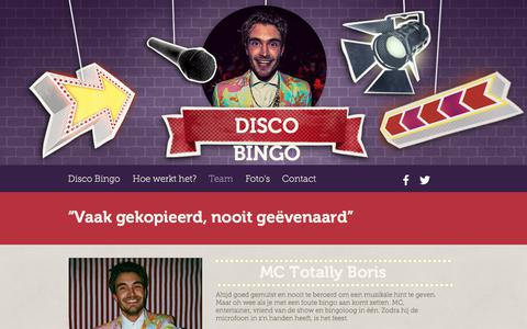 Screenshot of Team Page disco-bingo.com - Disco Bingo, Swingo, Muziekbingo, Boris Lange, Bedrijfsfeest - captured Jan. 8, 2018