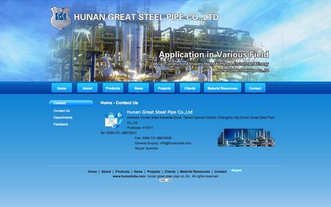 Screenshot of Contact Page hunantube.com - Contact us - Hunan Great Steel Pipe Co.,Ltd - captured Oct. 3, 2014