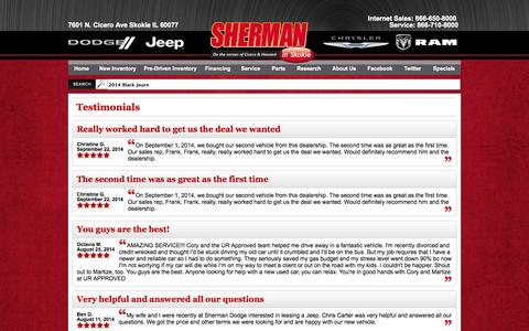Screenshot of Testimonials Page shermandodge.com - Customer Reviews, Testimonials - Sherman Dodge - captured Oct. 26, 2014