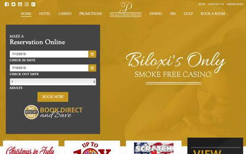 Screenshot of Home Page palacecasinoresort.com - Biloxi's Only Smoke Free Casino | Palace Casino Resort | Biloxi, MS - captured July 15, 2018
