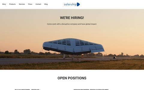 Screenshot of Jobs Page solarship.com - Careers - Solar Ship - Smart Remote - captured Oct. 19, 2018
