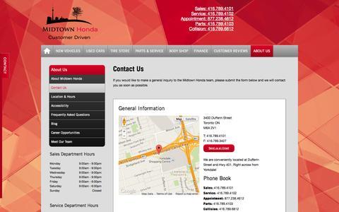 Screenshot of Contact Page midtownhonda.com - Midtown Honda | Contact Us - Honda Dealer in Toronto - 5 Star Rated - captured Oct. 27, 2014
