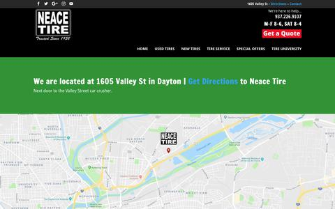 Screenshot of Maps & Directions Page daytonusedtires.com - Directions Neace Tire - captured Oct. 19, 2018