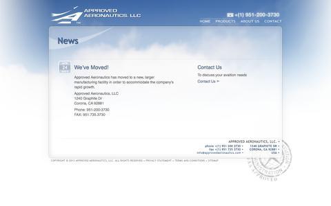 Screenshot of Press Page approvedaeronautics.com - Approved Aeronautics - News - captured Oct. 4, 2014