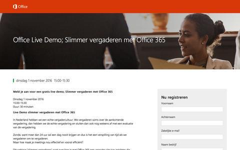 Screenshot of Landing Page office.com - Office Live Demo; Slimmer vergaderen met Office 365 - captured Oct. 22, 2016