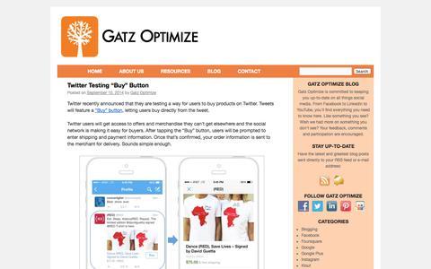 Screenshot of Blog gatzoptimize.com - Gatz Optimize - Social Media Blog - captured Sept. 29, 2014
