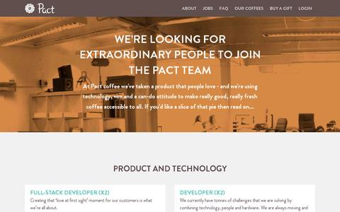 Screenshot of Jobs Page pactcoffee.com - Pact | Delivering fresh, better tasting coffee - captured July 19, 2014
