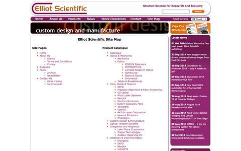 Screenshot of Site Map Page elliotscientific.com - Sitemap – Optomechanics & laser tweezers – Elliot Scientific Group - captured Oct. 2, 2014