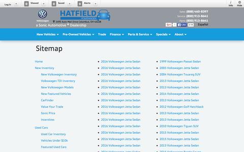 Screenshot of Site Map Page hatfieldvw.com - Hatfield Volkswagen   New Inventory for sale in Columbus, OH 43228 - captured June 18, 2016