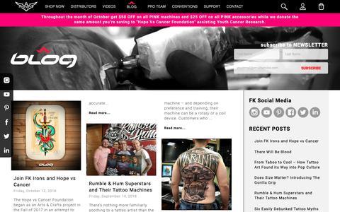 Screenshot of Blog fkirons.com - Official | FK Irons - Tattoo Machines, Tattoo Supplies and Tattoo Accessories - captured Oct. 24, 2018
