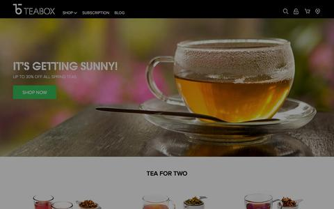 Screenshot of Home Page teabox.com - Online Tea Store, Shop & Buy Indian Teas Online - TeaBox.com - captured Jan. 19, 2016