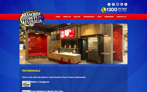 Screenshot of Testimonials Page franchisefitoutsaustralia.com.au - Franchise Fitouts Australia - captured Sept. 30, 2014