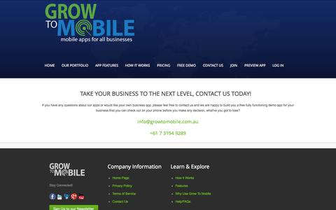 Screenshot of Contact Page growtomobile.com.au - Mobile apps to grow your business - captured Sept. 30, 2014