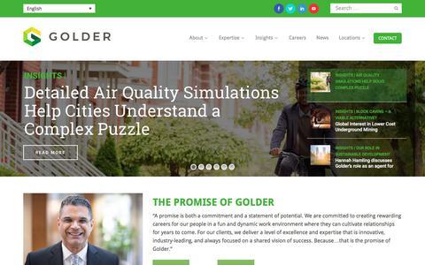 Screenshot of Home Page golder.com - Home - captured Sept. 20, 2018