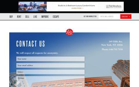 Screenshot of Contact Page brickunderground.com - Contact Us - captured Oct. 11, 2017