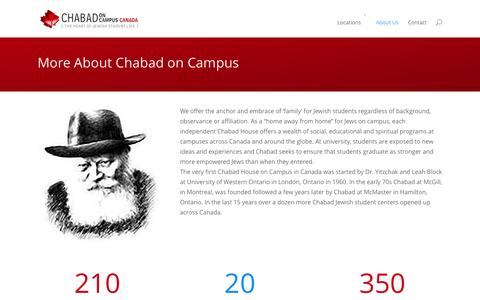 Screenshot of About Page jewishstudents.ca - About Us | Chabad on Campus Canada - captured Oct. 27, 2014