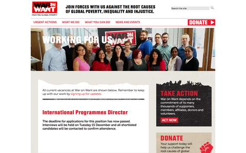 Screenshot of Jobs Page waronwant.org - Working for us | War On Want - captured Jan. 12, 2016