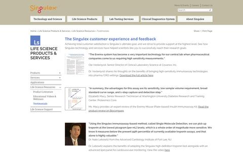 Screenshot of Testimonials Page singulex.com - Testimonials of the Customer Experience - Feedback - Singulex - captured Sept. 17, 2014