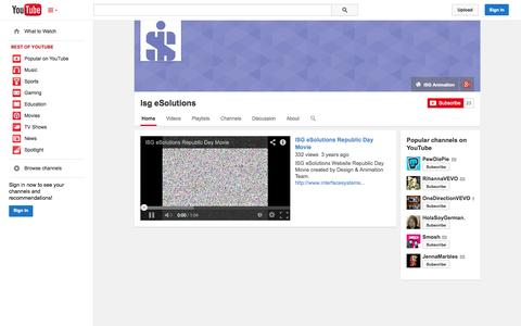 Screenshot of YouTube Page youtube.com - Isg eSolutions  - YouTube - captured Oct. 29, 2014