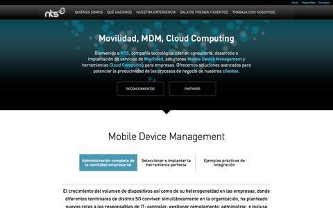 Screenshot of Home Page nts-solutions.com - NTS - Servicios de Movilidad, soluciones MDM y herramientas Cloud Computing - captured Oct. 6, 2014