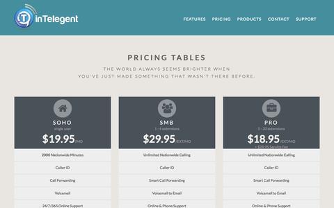 Screenshot of Pricing Page intelegent.ca - inTelegent Communications:             Infos - captured Oct. 6, 2014