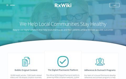 Screenshot of Home Page rxwiki.com - Home - RxWiki - captured Sept. 17, 2016