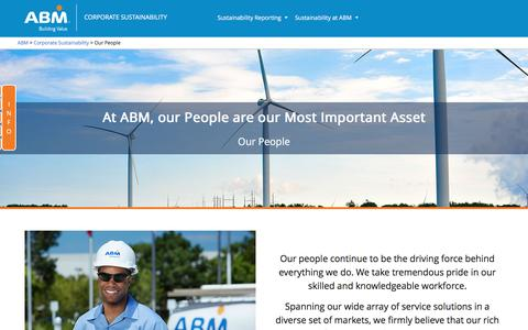Screenshot of Team Page abm.com - Our People – Corporate Sustainability - captured July 10, 2016