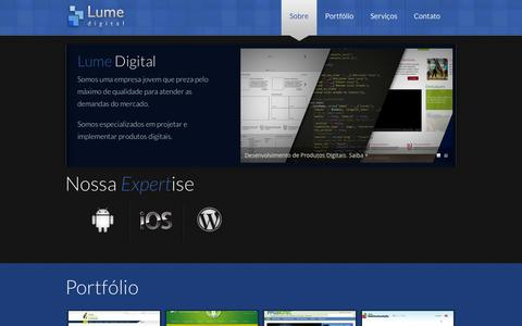Screenshot of Home Page lumedigital.com.br - Lume Digital - captured Sept. 30, 2014