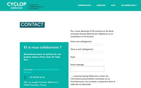 Screenshot of Contact Page cyclop-editorial.fr - Contact Cyclop Éditorial, conseil en communication éditoriale - captured Sept. 22, 2018