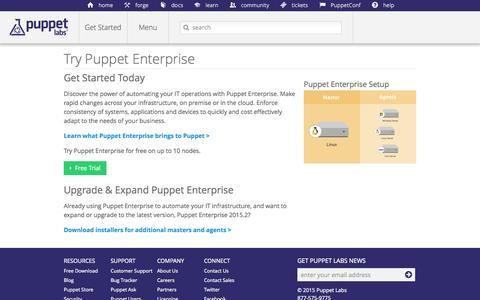 Screenshot of Trial Page puppetlabs.com - Try Puppet Enterprise | Puppet Labs - captured Nov. 25, 2015