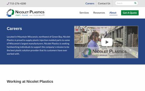 Screenshot of Jobs Page nicoletplastics.com - Plastic Injection Molding Jobs | Nicolet Plastics, Inc. - captured Feb. 5, 2019