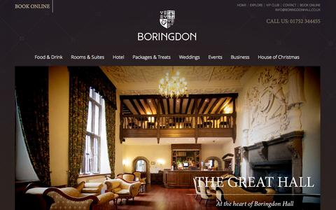 Screenshot of Home Page boringdonhall.co.uk - Manor House Hotel Devon, Wedding Venues in Devon, Luxury Hotels Devon | Boringdon - captured Oct. 5, 2014