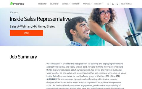 Screenshot of Jobs Page progress.com - Inside Sales Representative, Sales @ Waltham, MA, United States - Progress Careers - captured July 17, 2019