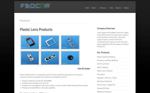 Screenshot of Products Page fedcorglobal.com - Fedcor Global LLC - Keypads, Silicone Pads, Membrane Switches, Flex, Extrusion Manufacturers - captured Sept. 30, 2014