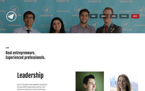 Screenshot of Team Page endevvr.com - Team — Endevvr - captured July 19, 2018