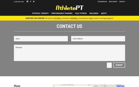 Screenshot of Contact Page athleteptonline.com - Contact - AthletePT - captured Feb. 6, 2016